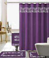 18 Piece Lilian Embroidery Banded Shower Curtain Bath Set (Purple)