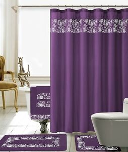18 Piece Lilian Embroidery Banded Shower Curtain Bath Set (Purple)