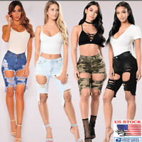 US Women High Waisted Washed Ripped Hole Short Mini Jeans Denim Pants Shorts NEW