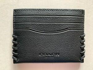 NWT Coach F22370 Card Case Baseball Stitch Black