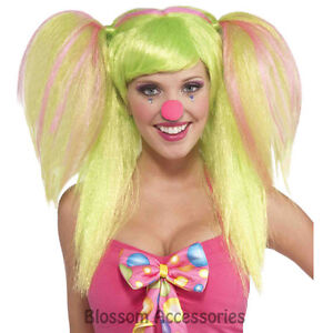 W268FN Circus Sweetie Green Pink e Lollypop Lilly  Ladies Clown Costume Wig