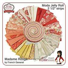 Moda Jelly Roll Madame Rouge French General Fabric madam red vintage Rouenneries