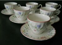 Johnson Bros SUMMER CHINTZ 6 Tea Coffee Cup & Saucer Sets England Disc'd NEW