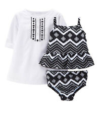 Carter's Baby Girl 3PC Rashguard UPF +50 Sun Protection Tankini Set~Cover-up NWT