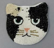 Urban Outfitters Women's Beaded Cat Zip Coin Pouch SH3 Black/White One Size