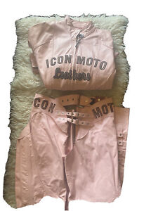 """ICON Moto Leathers Pink Leather & Suede """" BombShell"""" Motorcycle Jacket and Chaps"""