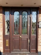 LARGE FRONT DOOR in SOLID WOOD - STAINED & LEADED GLASS PANELS - BANHAM LOCKS