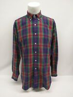 Ralph Lauren Blake Purple Green Plaid Check Long Sleeve Mens Shirt Size Medium