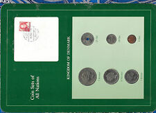 Coin Sets of All Nations Denmark 1984-1987 25, 10 Ore 1986 1, 5, 10 Kroner 1987