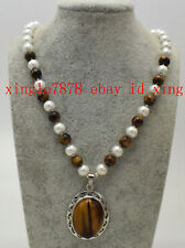 Fashion 8mm Yellow Tiger's Eye 8mm White Shell Pearl Pendant Necklace 20'' AAA