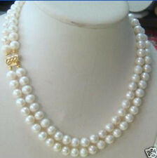 fashion Handmade 2 rows 7-8MM DOUBLE STRAND WHITE PEARL NECKLACE 18""