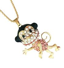 Monkey Moving Head Crystal Rhinestone Pendant Long Chain Sweater 3D Necklace