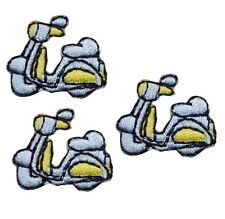 Scooter Moped Minibike Applique Patch (3-Pack, Small, Iron on)