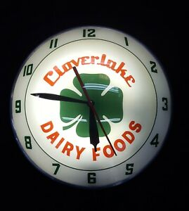"""Vintage """"Cloverlake Dairy Foods"""" Double Bubble Round Wall Clock"""