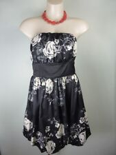 NEW LOOK black white Maxi floral print Strapless Dress 12 Weddings Party Races