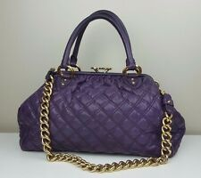 MARC JACOBS Aubergine Purple Leather STAM Bag Purse Quilted Distressed