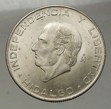 1956 MEXICO Large SILVER 5 Pesos Coin w MEXICAN Independence HERO Hidalgo i57748