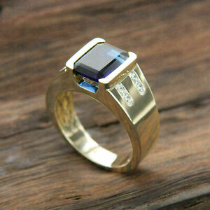 Men's Engagement Solitaire With Accent Ring 2.98Ct Sapphire 14K Yellow Gold Over
