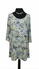 M&S Dress Size 18 Blue Yellow Grey Black L31in Casual Stretch Everyday