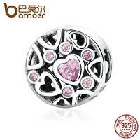 Bamoer European S925 Sterling Silver Charm Summer Minds Pink cz fitting Bracelet