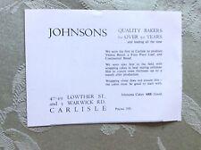 A2e ephemera advert undated johnsons bakers carlisle