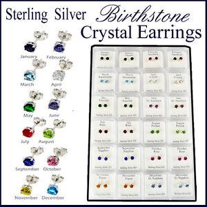 BIRTHSTONE EARRINGS PIERCING EAR  STUD BIRTHDAY CRYSTAL STERLING SILVER 4MM NEW