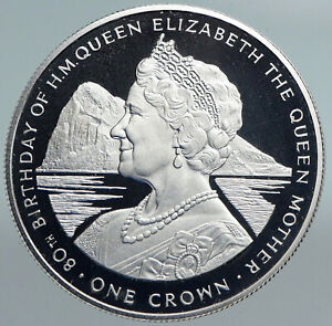 1980 GIBRALTAR UK Queen Mother Elizabeth II Rock Silver Proof Crown Coin i89915