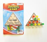 1 NEW WOODEN TRICKY TRIANGLE GAME BRAIN TEASER PEG CHALLENGE IQ TEST PARTY FAVOR