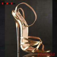 Womens Clubwear 18cm Super High Heel Shoes Ankle Strap Nightclub Sandals Plus Sz