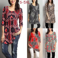 Plus Size Women Autumn Casual 3/4 Sleeve Flare Tops Blouse Loose Tunic Shirt