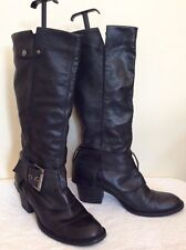 KENNETH COLE REACTION DARK BROWN LEATHER BUCKLE TRIM BOOTS SIZE 7.5