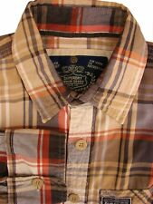 SUPERDRY Shirt Mens 15 S Brown - Check