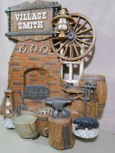 VILLAGE SMITH Blacksmith Anvil Wagon Wheel Burwood Wall Plaque 2261