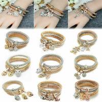 Fashion Women Gold/Silver/Rose Gold Bracelets 3Pcs/Set Rhinestone Bangle Jewelry