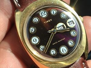 Vintage 1975 Timex Marlin Telephone Dial Mechanic Men's Watch Serviced New Strap