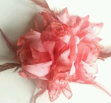 CORAL PINK FASCINATOR.Roses Feather,Glitter petals corsage Hair clip . Uk seller
