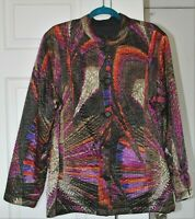 No Tag VTG Womens L Button Up Quilted Poly Satin Mao JACKET BIBA esque Art Deco