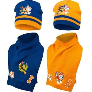 Official Boys Kids Paw Patrol Winter Hats And Scarf Sets 1-5 Years