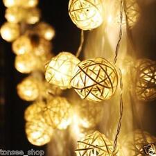 20 LED Warm Weiß Rattan Ball Schnur Fairy Beleuchtung Für Xmas Hochzeit Party