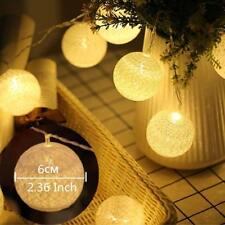 120 Cotton Ball Led String Lights Warm White Christmas Garland Wedding Party 6cm