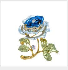 Women Blue Rose Flower Enamel Crystal Rhinestone Brooch Pin Shirt Hat Gift Party