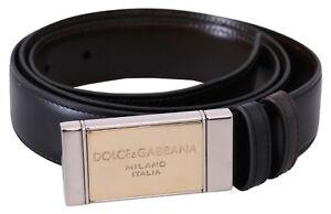 DOLCE & GABBANA Belt Black Brown Leather Gold Badge Buckle 100cm/40in RRP $750