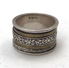 Vtg Silpada 925 Sterling Silver Brass Twirl Filigree Spin Ring Size 10.5 O47