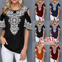 Summer Women Casual Short Sleeve Floral T Shirt Round Neck Tops Loose Blouse