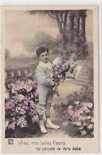 CPA postcard photo Edwardian CHILD Avec mes belles fleurs Edit J.C. 2185 ca1913