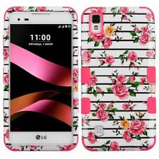 For LG Tribute HD/X STYLE Pink White Fresh Roses Tuff Hard Silicone Hybrid Case