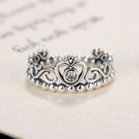 Silver Color Princess Ring Queen Crown Pandoras Ring Engagement Jewelry Tiara