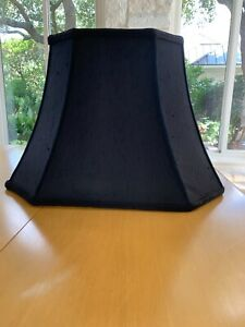 "Vintage Black Silk Shantung Lamp Shade / Rectangular Cut Corner 18"""