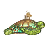 """Green Sea Turtle"" (12167)X Old World Christmas Glass Ornament w/OWC Box"