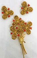 Beautiful Floral Rhinestone Brooch & Earrings Demi Topaz Orange Vintage Jewelry